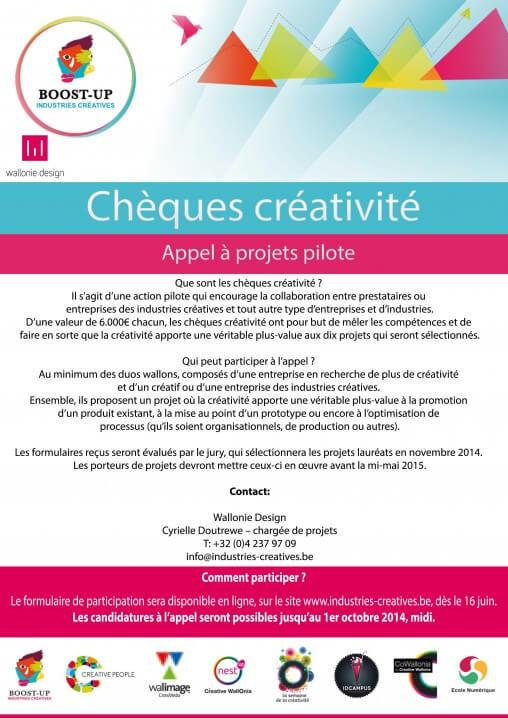 Les chèques créativité wallons sont arrivés le 16 juin 2014, à l'initiative du projet Wallonia European Creative District !